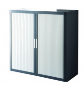 Aktenschrank easy Office E1CT0000300044, Kunststoff/Stahl abschließbar, 2 OH, 110 x 104 x 41,5 cm, anthrazit/grau