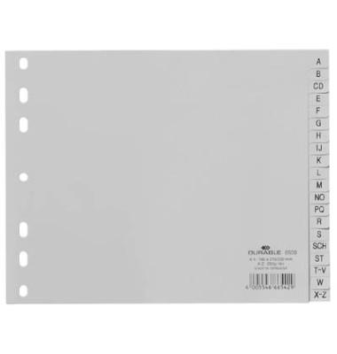 Kunststoffregister 6500-10 A-Z A4 halbe Höhe 0,12mm graue Taben 20-teilig