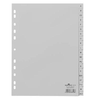 Kunststoffregister 6510-10 A-Z A4 0,12mm graue Taben 20-teilig