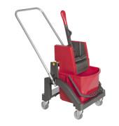 Profi-Reinigungswagen mit 17-Liter-Eimer und Presse rot