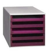 Schubladenbox 30050927 lichtgrau/brombeer-transparent 5 Schubladen offen
