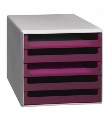 Schubladenbox lichtgrau/brombeer-transparent 5 Schubladen