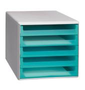 Schubladenbox aquamarin-transparent 5 Schubladen