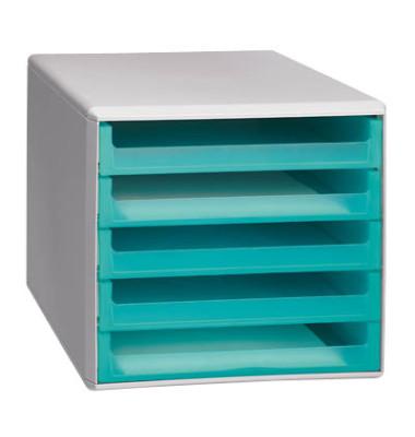 Schubladenbox lichtgrau/aquamarin-transparent 5 Schubladen