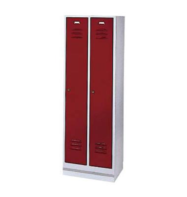 Garderobenschrank rubinrot mit 2 Abteilen