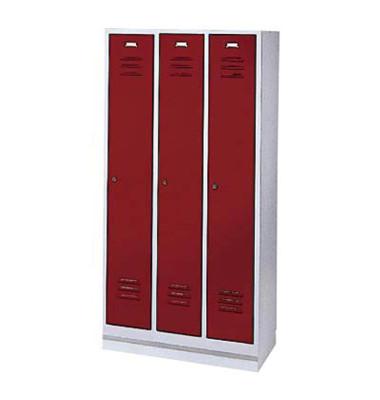Garderobenschrank rubinrot mit 3 Abteilen