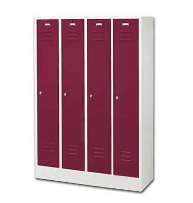 Garderobenschrank rubinrot mit 4 Abteilen