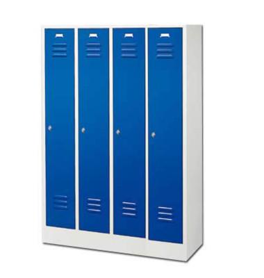 Garderobenschrank enzianblau mit 4 Abteilen