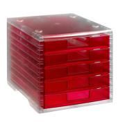 Schubladenbox Lightbox 275-8419.724 transparent/himbeer-transparent 5 Schubladen geschlossen