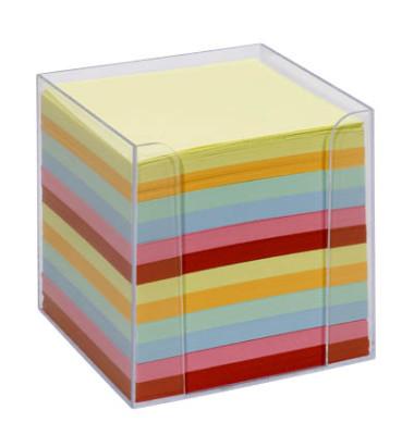 Notizzettel-Box glasklar bunt mit 700 Notizzetteln farbsortiert