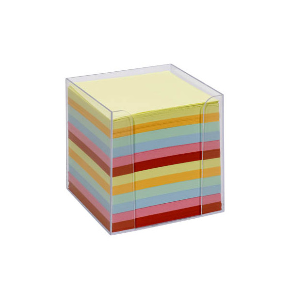 folia Notizzettel-Box glasklar bunt mit 700 Notizzetteln farbsortiert
