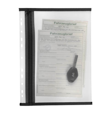 Reißverschlußtasche Velobag PP A5 110x205mm farblos/schwarz