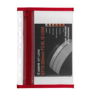 Reißverschlußtasche Velobag PP A4 183x290mm farblos/rot