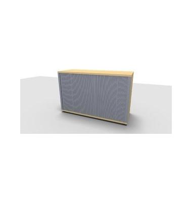Aktenschrank ClassicLine 1.028.321024 VC247436, Kunststoff/Holz abschließbar, 2 OH, 120 x 78 x 44,2 cm, silber/ahorn