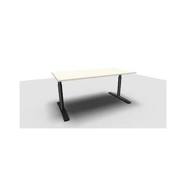Schreibtisch Jump TN0018-4G2JGW3W3I4I4V0U0 weiß rechteckig 160x80 cm (BxT) manuell höhenverstellbar