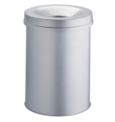 Stahlpapierkorb 15 Liter mit Flammenlöschkopf grau