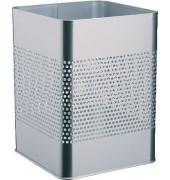 Stahlpapierkorb 18,5 Liter silber eckig 20 Reihen perf.