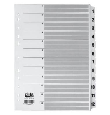Kartonregister 1-12 A4 170g weiße Taben 12-teilig