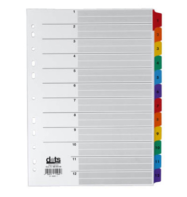 Kartonregister 1-12 A4 170g farbige Taben 12-teilig