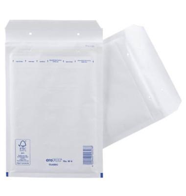 Luftpolstertaschen Classic No. W4, 2FVAF000104, innen 180x265mm, haftklebend + Lochung für Klammer, weiß
