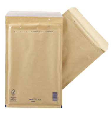 Luftpolstertaschen Classic No. 6, 2FVAF000006, innen 220x340mm, haftklebend + Lochung für Klammer, braun