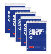 Collegeblock Student A4 weiß liniert perforiert gelocht 80 Blatt 5 Stück