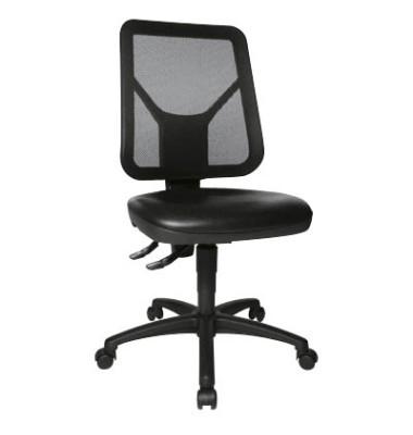 Arbeitsdrehstuhl Tec 80 schwarz mit Doppelrollen für weiche Böden