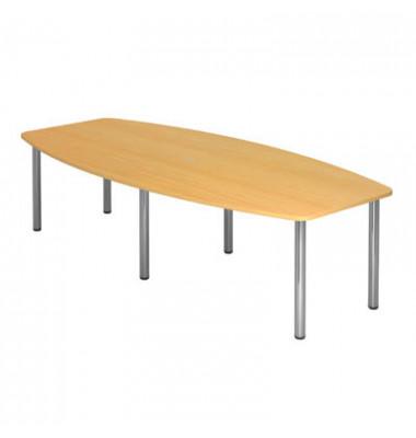 Konferenztisch buche 280,0 x 78,0-130,0 x 74,5 cm (BxTxH) mit Stahlgestell
