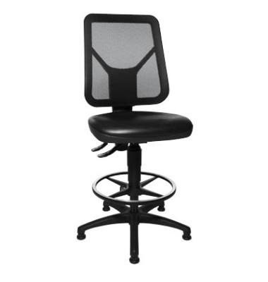 Arbeitsdrehstuhl Tec 80 schwarz mit Fußring und Bodengleiter