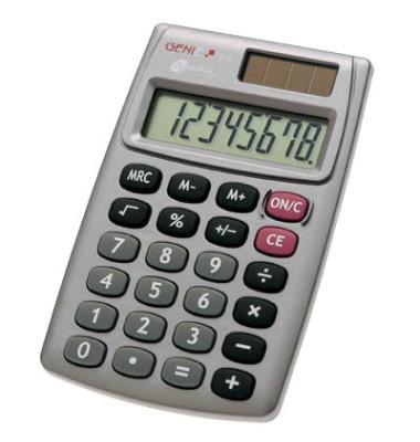 Taschenrechner 510 Solar-/Batterie LCD-Display silber 1-zeilig 8-stellig