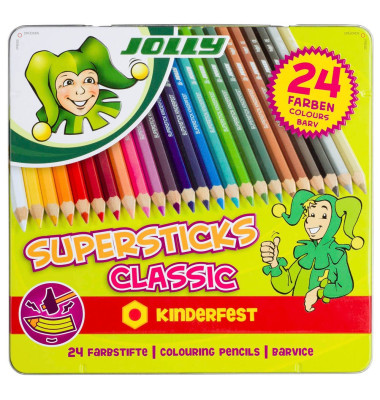 Buntstifte Supersticks Classic 24-farbig sortiert 8 x 175mm Metalletui
