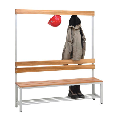 Garderobenbank 57153-1, Holz, 150cm, freistehend, mit Hakenleiste, mit Schuhregal, buche/lichtgrau