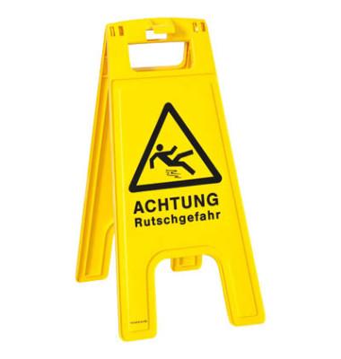 """Warnhinweisschild """"Achtung Rutschgefahr"""" gelb 58 x 28 x 4 cm"""