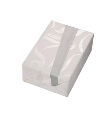 Geschenkpapier Ontario 50cm x 20m silber/weiß Ornamente