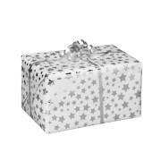 Geschenkpapier Diadem Sterne silber/weiß 50cm x 20m