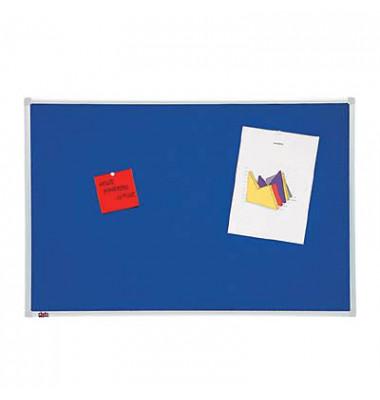 Pinnwand, 90x60cm, Textil, Aluminiumrahmen, blau