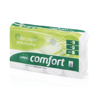 Toilettenpapier 037068 Comfort 100% recycling 3-lagig 8 Rollen