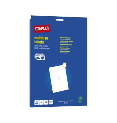 Etiketten A4 25 Blatt weiß 210x297mm 25 St