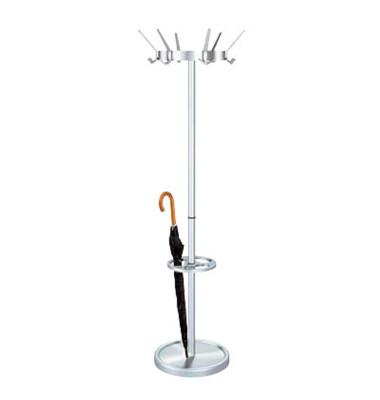 Garderobenständer Public Classic 6796, mit 18 Haken, mit Schirmständer, Metall, silber