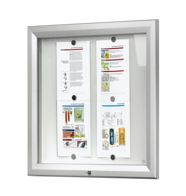 Schaukasten T-Linie 6 x A4 Metallrückwand weiß, silber magnetisch