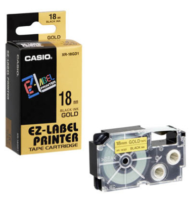 Beschriftungsband XR-18GD schwarz auf gold Plastik 18mm