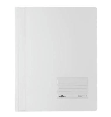 Schnellhefter Duralux A4+ überbreit weiß PVC kaufmännische Heftung bis 200 Blatt 10 Stück