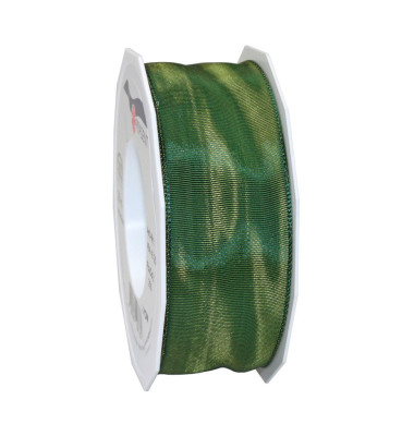 Geschenkband Lyon Lurexband mit Drahtkante 40mm x 25m grün