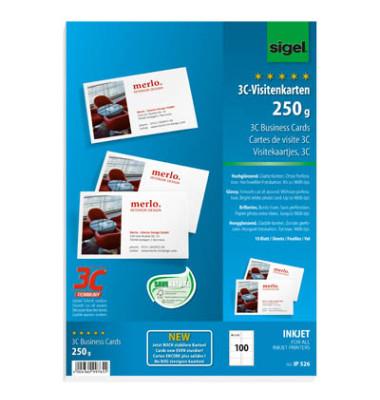 IP526 3C- Visitenkarten weiß 85 x 55 mm 250g 100 Stück