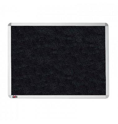 Pinnwand, 60x45cm, Textil, Aluminiumrahmen, schwarz