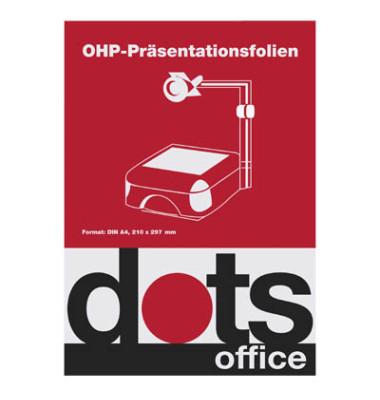 Kopierfolie DOTSOHPMULTI, A4, für Laserdrucker, Kopierer, 0,1mm, Overhead-Folie, transparent glasklar, 100 Blatt