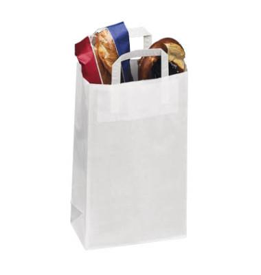 Tragetaschen weiß aus Kraftpapier 22,0 x 10,5 x 36,0 cm (BxTxH)