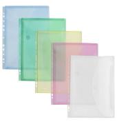Dokumententasche 40106 A4 farbig sortiert/transparen mit Abheftvorrichtungt 10 Stück