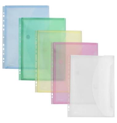 Dokumententasche 40109 A4 farbig sortiert/transparent mit Abheftvorrichtungt 10 Stück