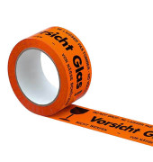 Signalpackband 100052, Vorsicht Glas, 50mm x 66m, PP, leise abrollbar, orange/schwarz